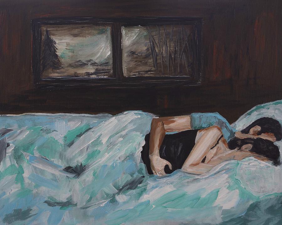 Couple In Love Painting - Sleeping In by Leslie Allen