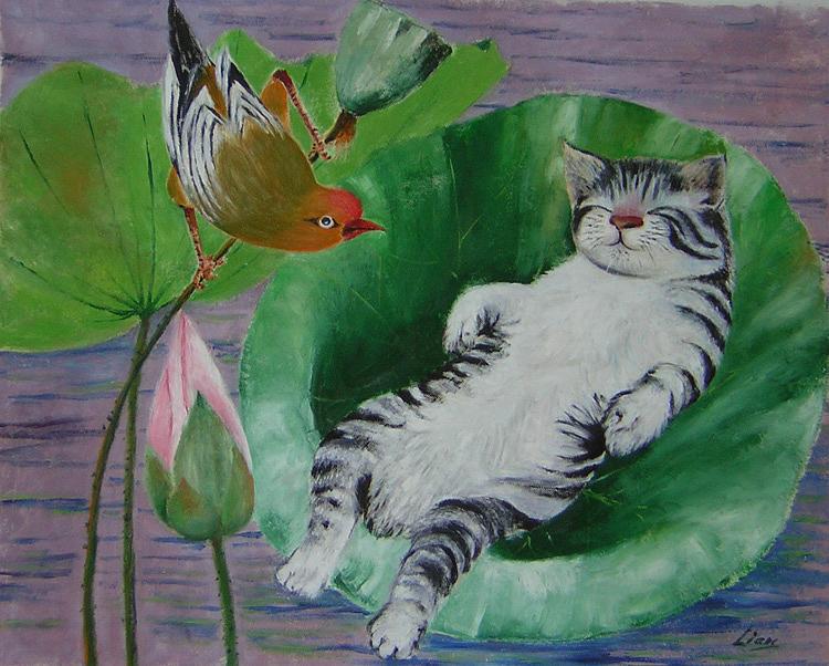 Fantasy Painting - Sleeping Kitten by Lian Zhen