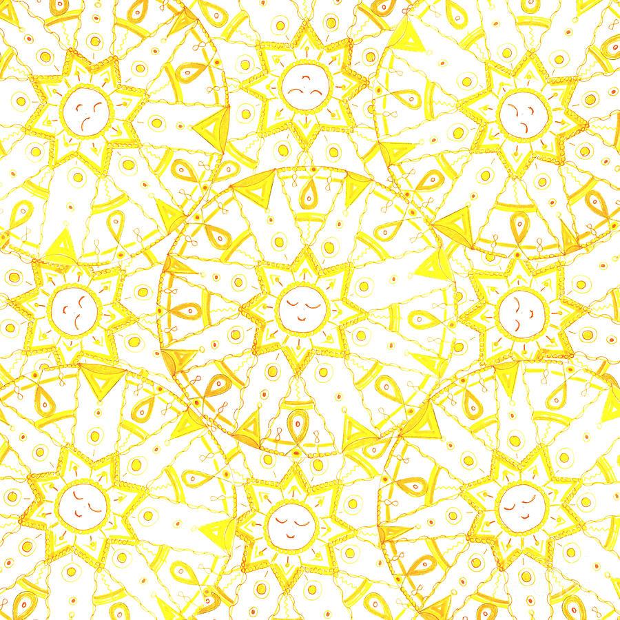 Mandala Drawing - Sleeping Sun by Signe  Beatrice