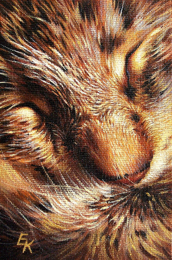 Cat Painting - Sleeping Tabby by Elena Kolotusha