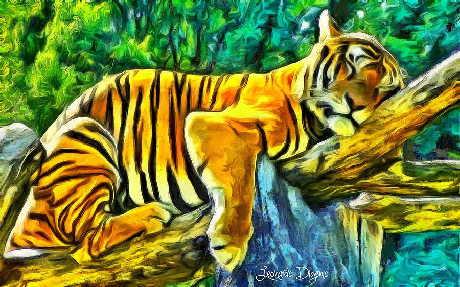 Animals Digital Art - Sleeping Tiger - Da by Leonardo Digenio