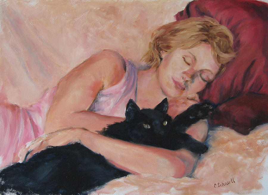 Portrait Painting - Sleeping With Fur by Connie Schaertl