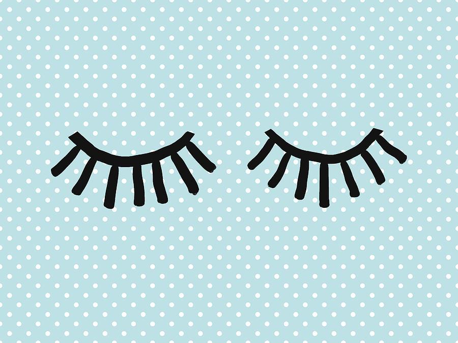 Eyes Mixed Media - Sleepy Eyes And Polka Dots Blue- Art By Linda Woods by Linda Woods