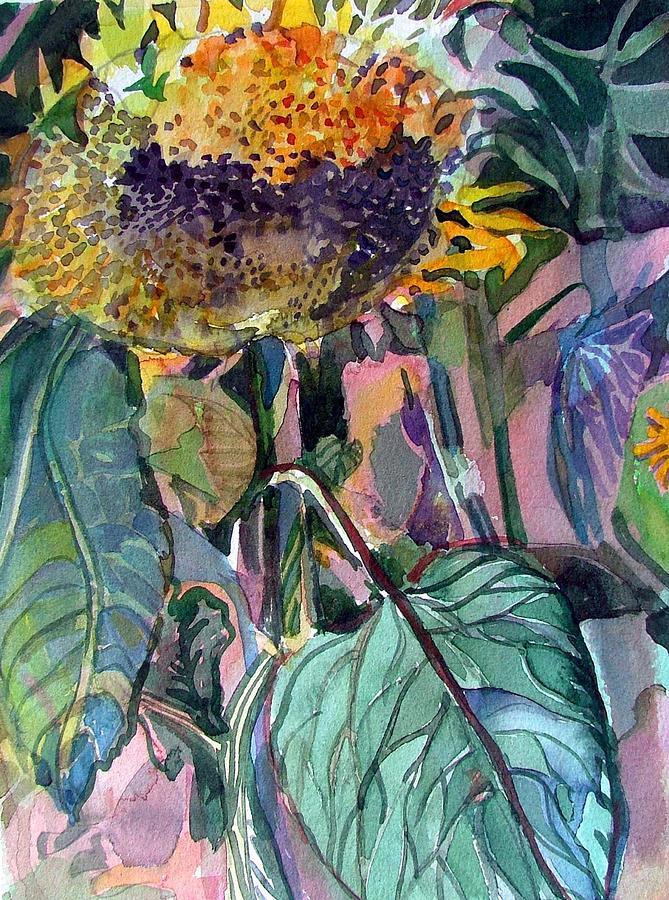Sunflower Painting - Sleepy Sunflower by Mindy Newman