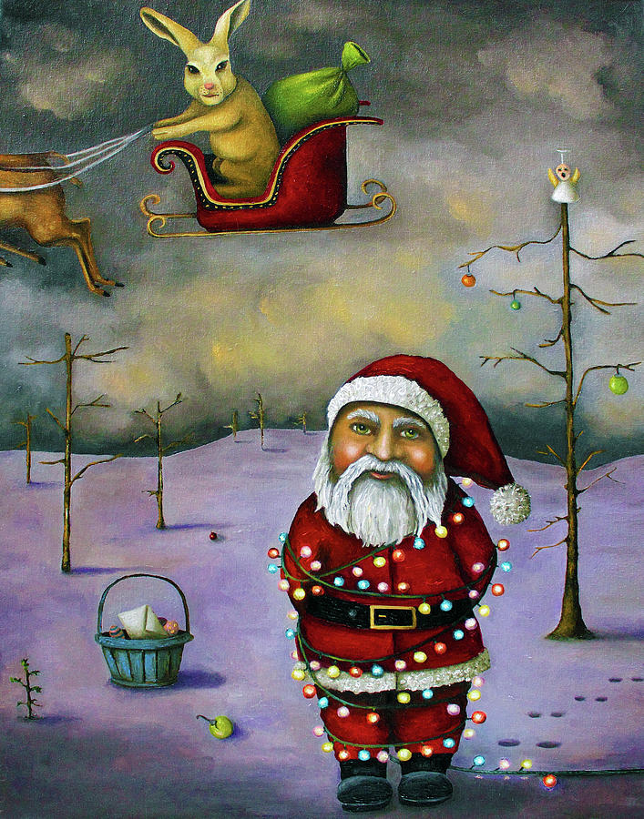 Santa Painting - Sleigh Jacker by Leah Saulnier The Painting Maniac