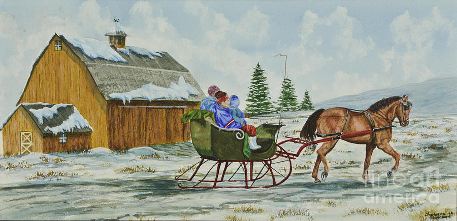 Winter Horse Blankets >> Sleigh Ride Painting by Charlotte Blanchard