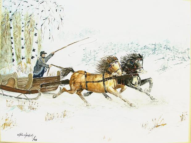 Sleigh Ride Painting by Miroslaw Chelchowski