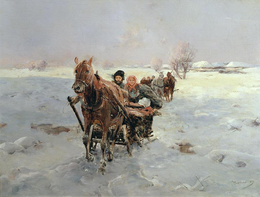 Sleighs Painting - Sleighs In A Winter Landscape by Janina Konarsky