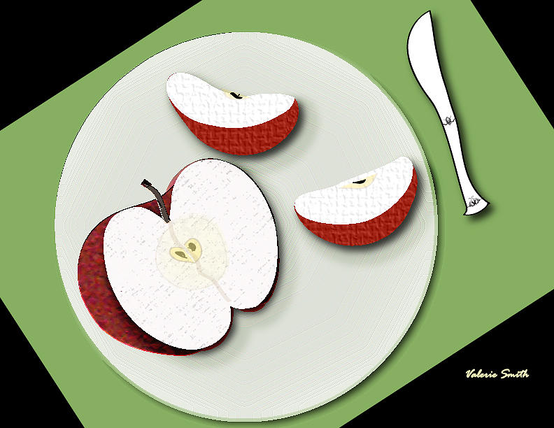 Knife Digital Art - Sliced Apple by Valerie Smith
