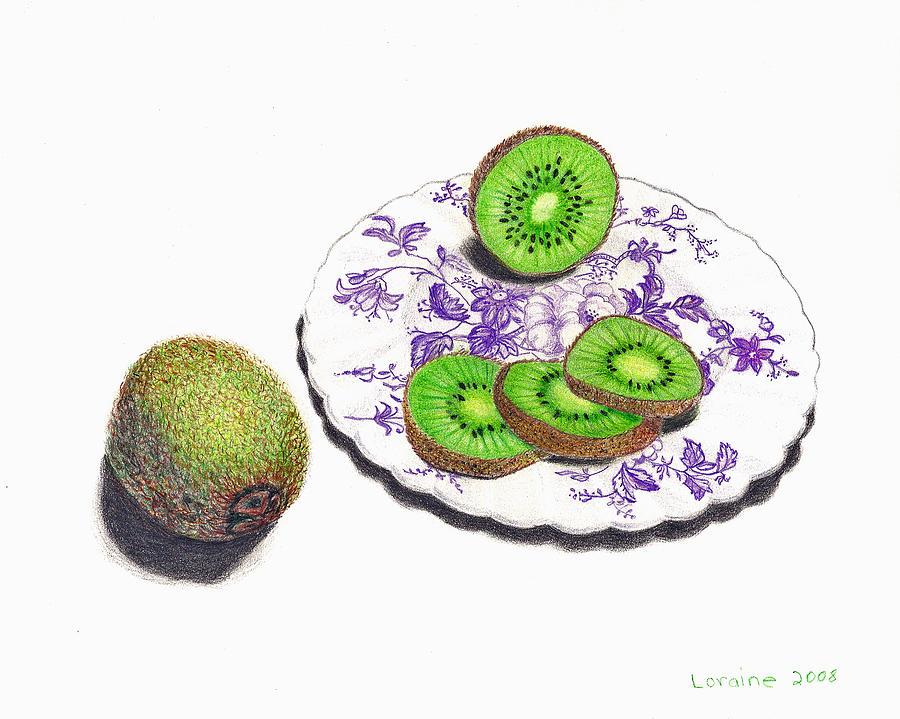 Kiwi Painting - Sliced Kiwi by Loraine LeBlanc