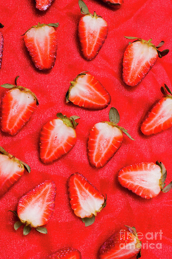 Fruits Photograph - Sliced Red Strawberry Background by Jorgo Photography - Wall Art Gallery