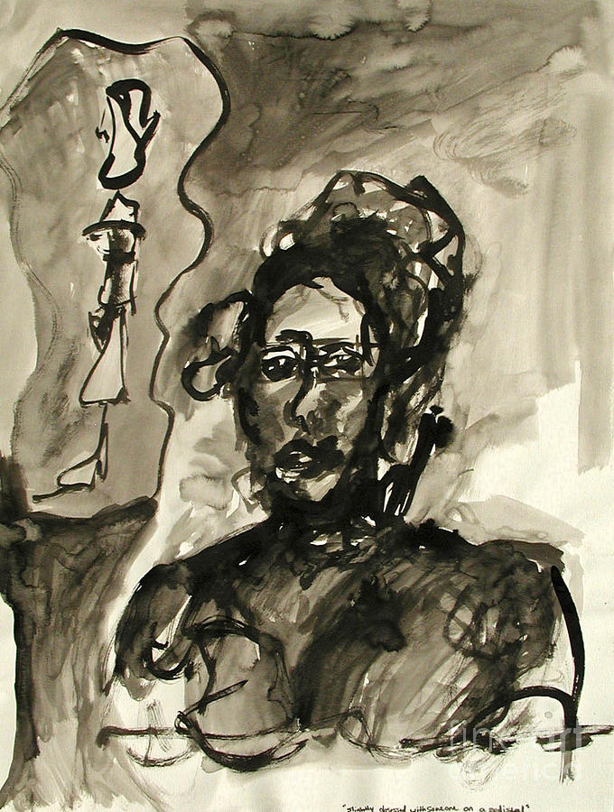 Ink Painting - Slightly Obsessed With Someone On A Pedestal by Sarah Goodbread