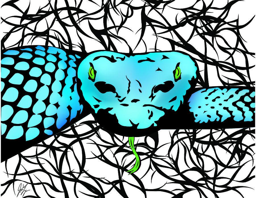 Slithering Blue Digital Art