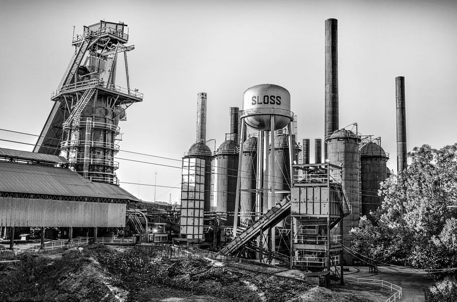 Birmingham photograph sloss furnace black white in birmingham alabama by michael thomas