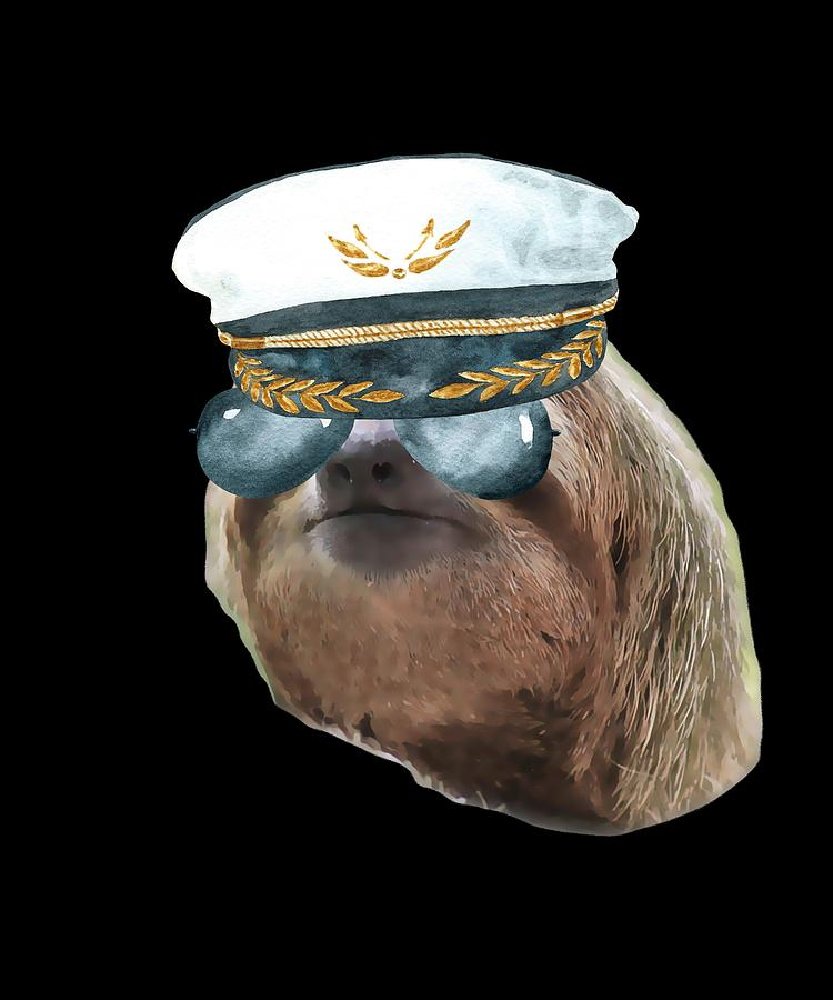 941a4cf10caca Sloth Aviator Glasses Captain Hat Sloths In Clothes Digital Art by ...