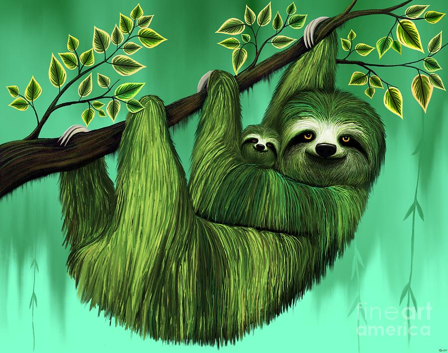 Sloths In A Tree Digital Art