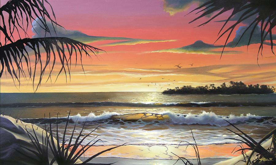 Sunset Painting - Slow Burn by James R Hahn