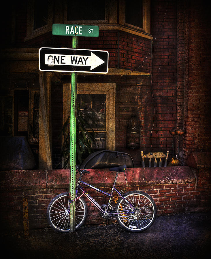 Arrow Photograph - Slow Down on the Race Street by Evelina Kremsdorf