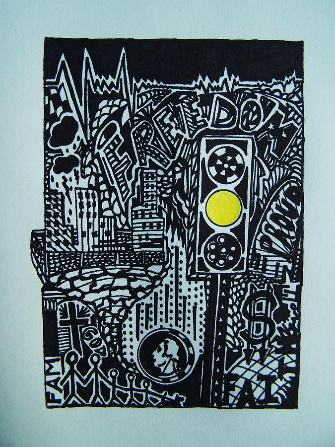 Visual Collage Drawing - Slow Times Series 4 by Joseph Norvell