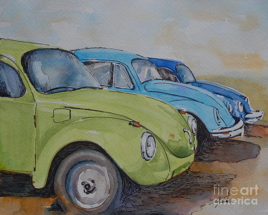 Vw Beetle Painting - Slugbug Green by Gretchen Bjornson