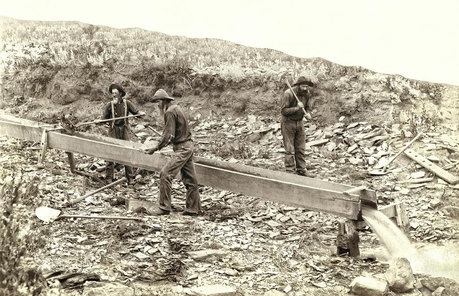 Gold Photograph - Sluice Box Placer Gold Mining C. 1889 by Daniel Hagerman