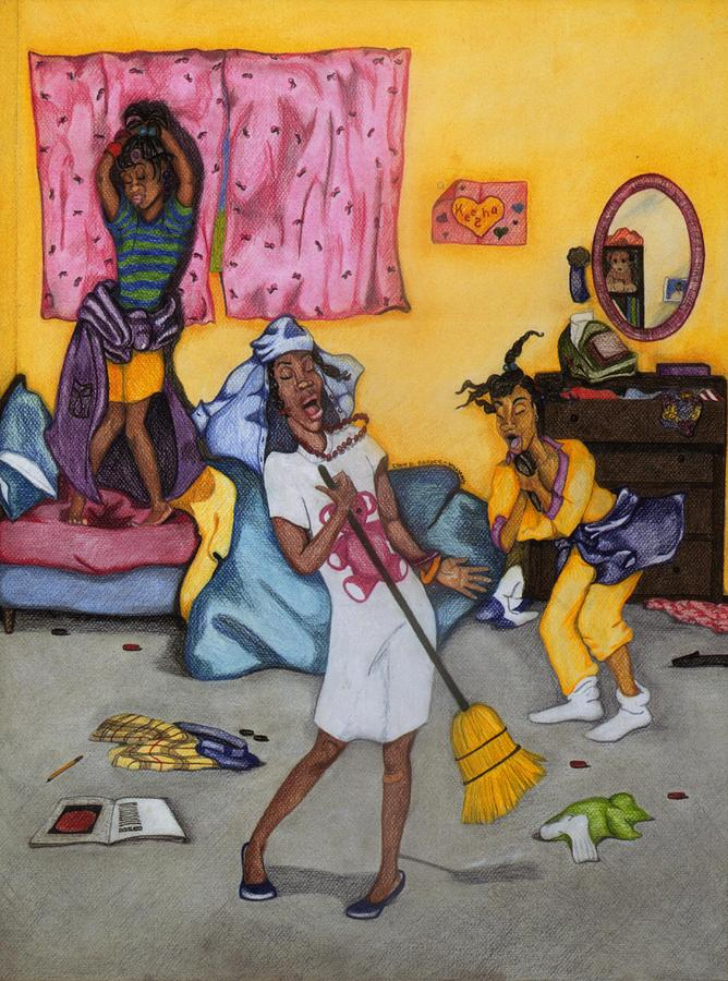 African American Drawing - Slumber Party by Lynn Darnelle