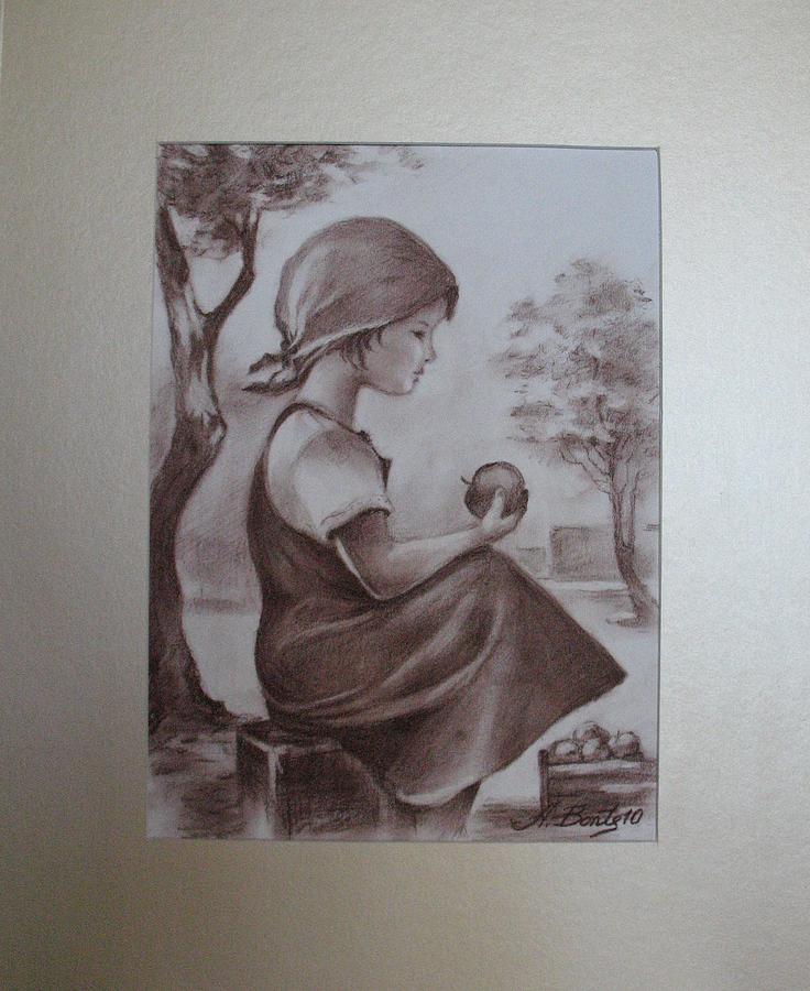 Small Apple Seller Drawing by Aurel Bonta