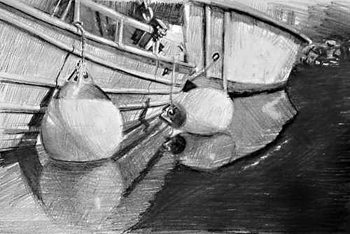 Small Boats Moored Drawing by William Hay