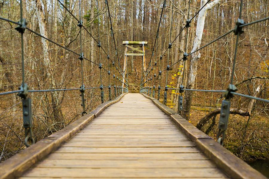 Suspension Photograph - Small Bridge by William Hall