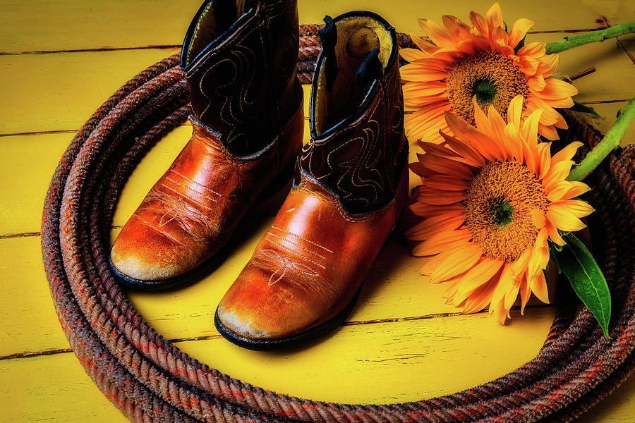 c059ad09a93 Small Cowboy Boots And Sunflowers by Garry Gay