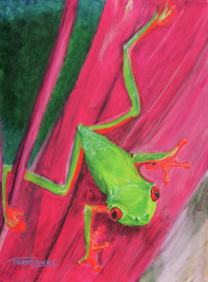 Frog Painting - Small Frog by Terry Lewey