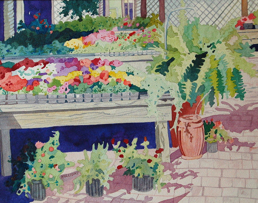 Garden Painting - Small Garden Scene by Terry Holliday