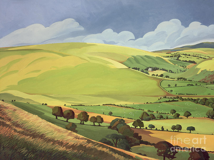 Land Painting - Small Green Valley by Anna Teasdale