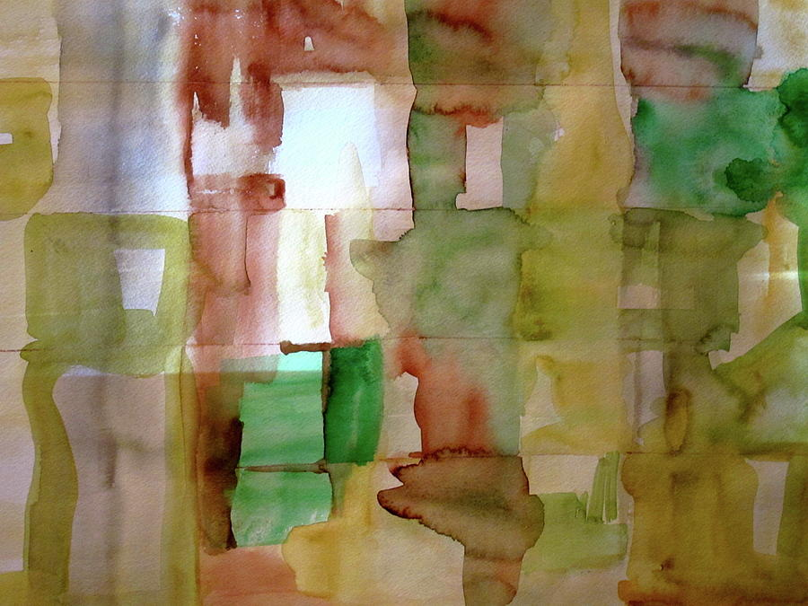 Yellow Painting - Small Grid In Earth Tones by Joan Norris