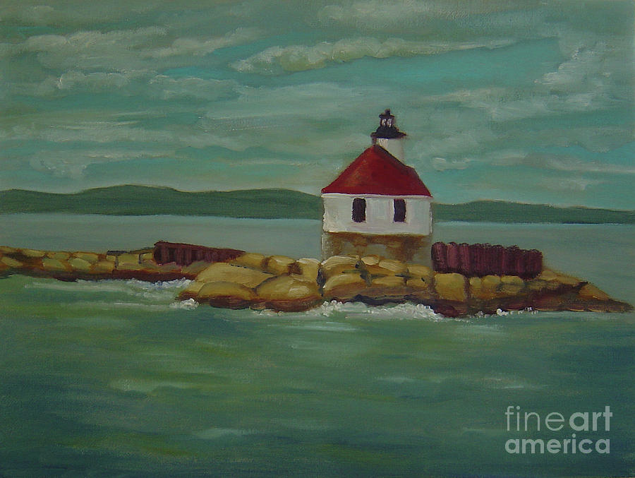Lighthouse Painting - Small Island Lighthouse by Lilibeth Andre