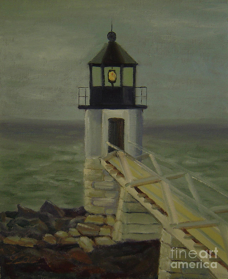 Fog Painting - Small Lighthouse by Lilibeth Andre