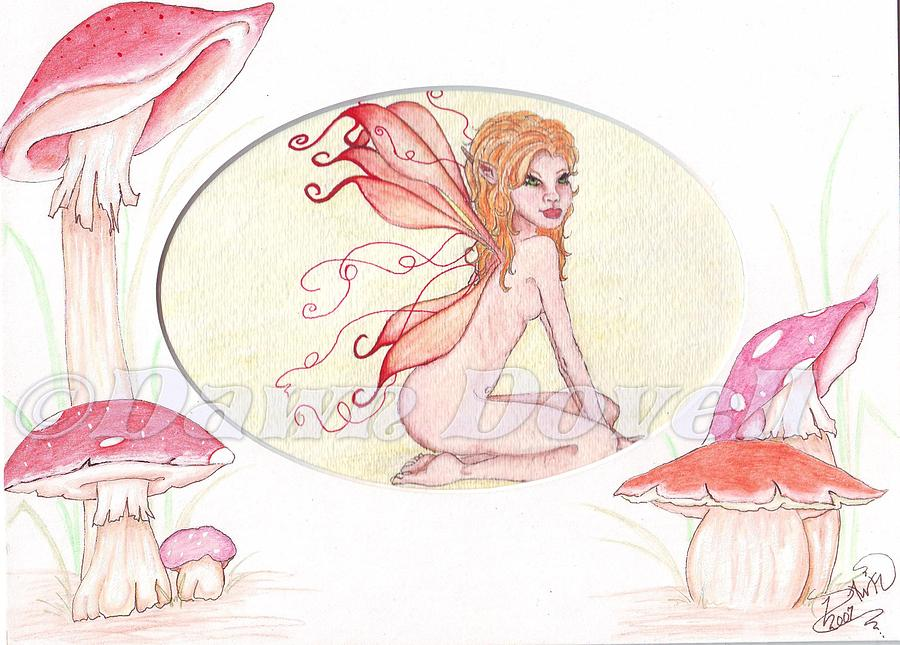 Fairy Painting - Small Matted Fairy by Dawn Dovell