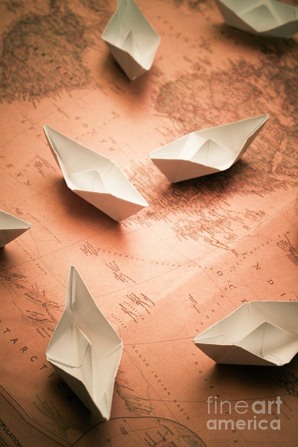 Small Paper Boats On Top Of Old Map Photograph By Jorgo Photography