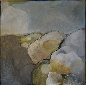 Abstract Landscape Painting - Small Rocs by Judith Grunberger