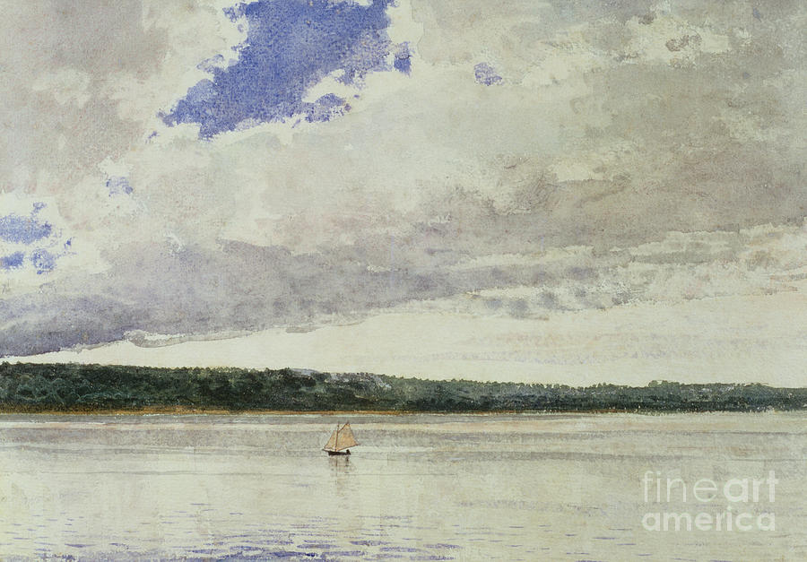 Small Sloop On Saco Bay (w/c On Paper)seascape; Vessel; Boat; Sea; Maine; New England Region; Solitary; Boat Painting - Small Sloop On Saco Bay by Winslow Homer