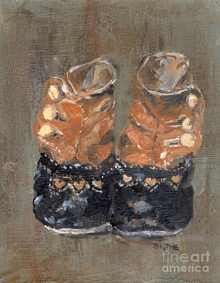 Baby Shoes Painting - Baby Steps by Blythe Quinn