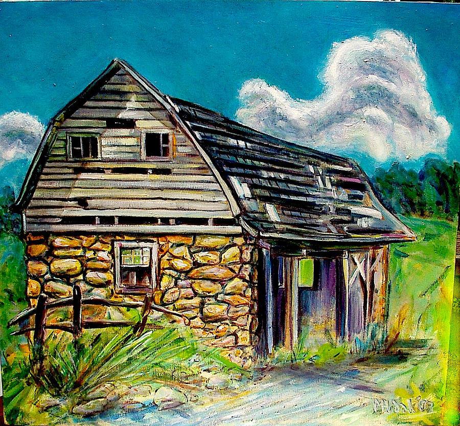 Barns Painting - Small Stone by Michael Hudak