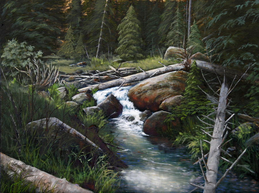 Landscape Painting - Small Stream In The Lost Wilderness 070810-1612 by Kenneth Shanika