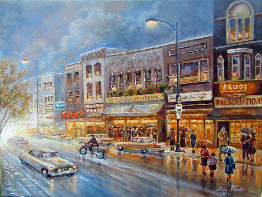 Oil Painting Painting - Small Town On A Rainy Day In 1960 by Regina Femrite