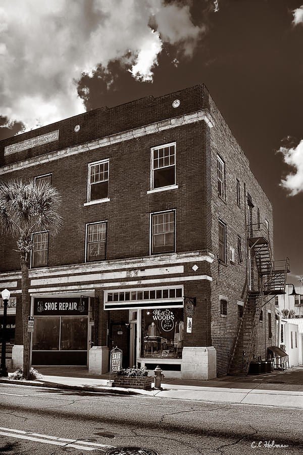 Building Photograph - Small Town Shops - Sepia by Christopher Holmes