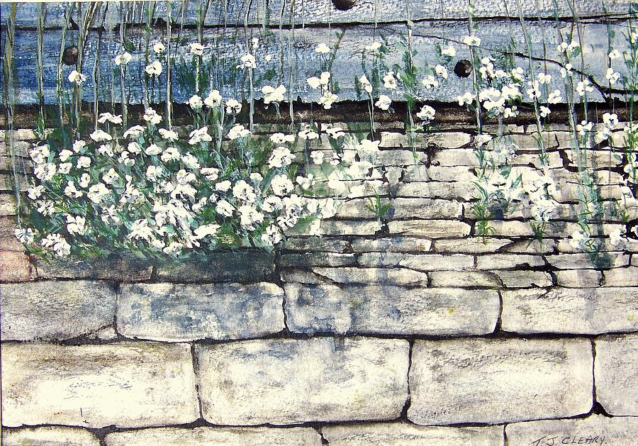 Flowers Painting - Small White Flowers by Terence John Cleary