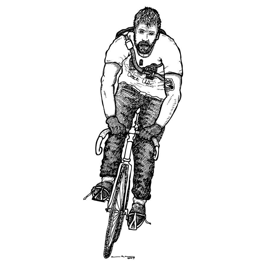 Drawing Drawing - Smashing Bike Messenger by Karl Addison