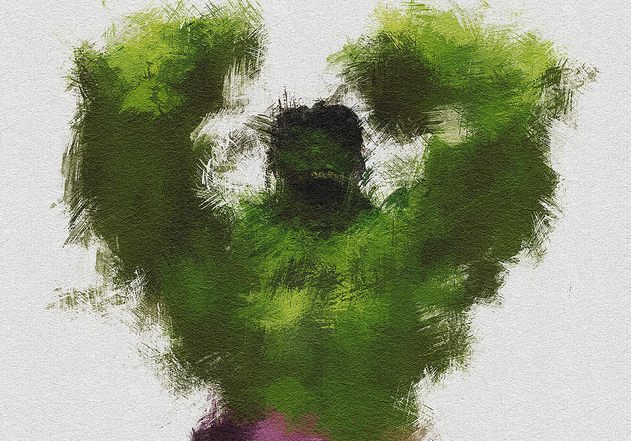 Hulk Painting - Smashing Green by Miranda Sether