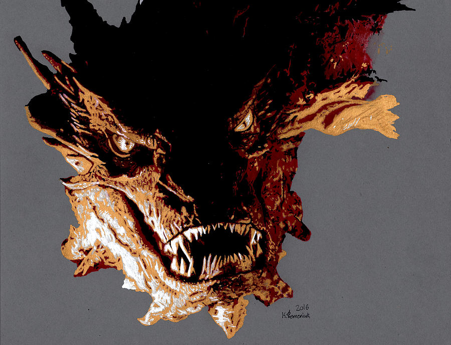 Marker Drawing - Smaug The Terrible by Kayleigh Semeniuk