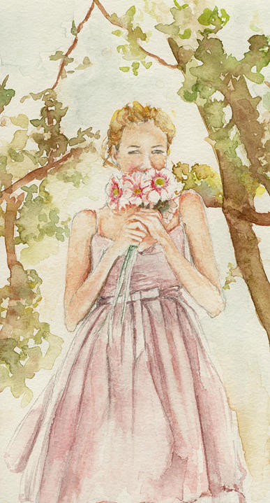 Woman Painting - Smelling The Daisies by Maria Tepper